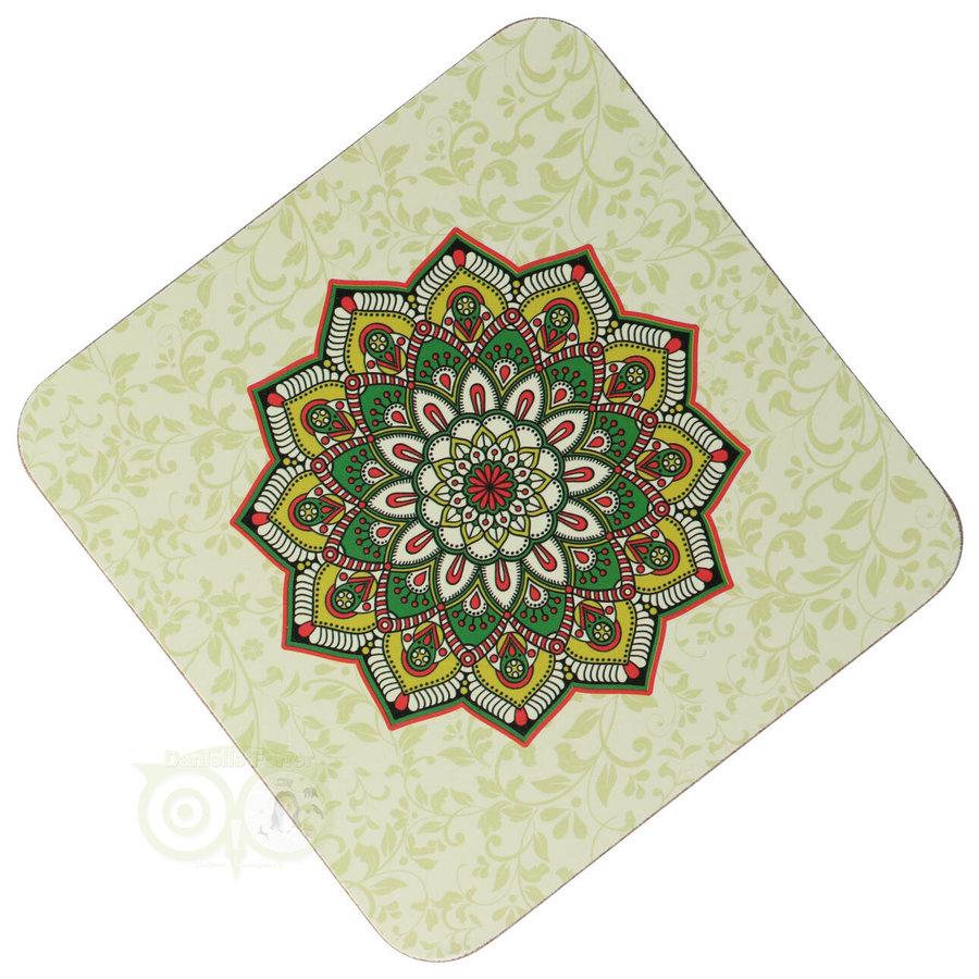 Mandala onderzetters Groen set van 6-3