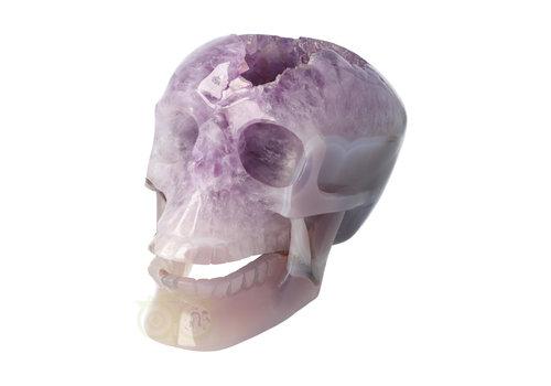 Amethist - Agaat Geode kristallen schedel 3.9 kg