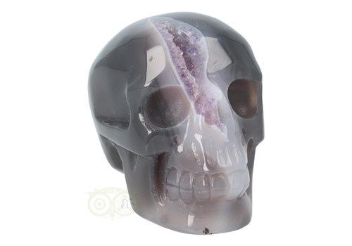 Agaat Amethist Geode kristallen schedel 523 gram