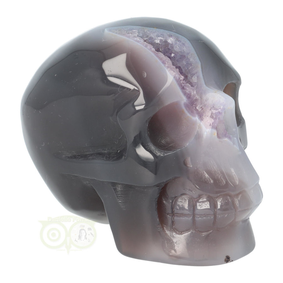 Agaat Amethist Geode kristallen schedel 523 gram-9