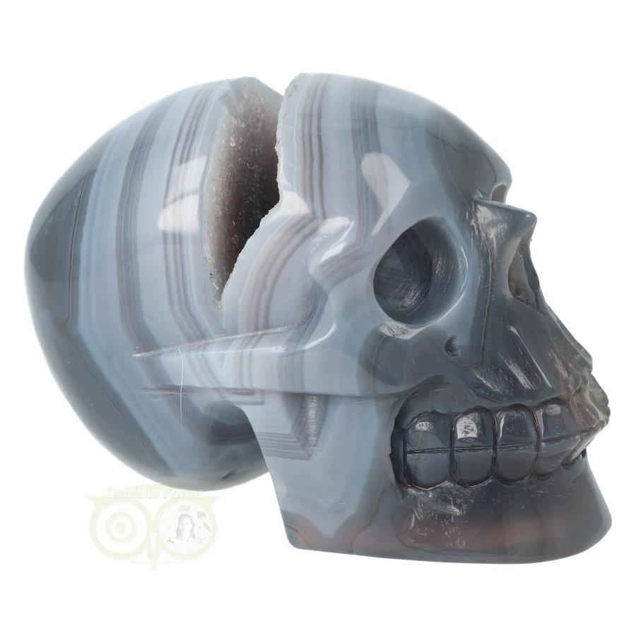 Agaat  Geode 'Tooth' kristallen schedel 714 gram-1