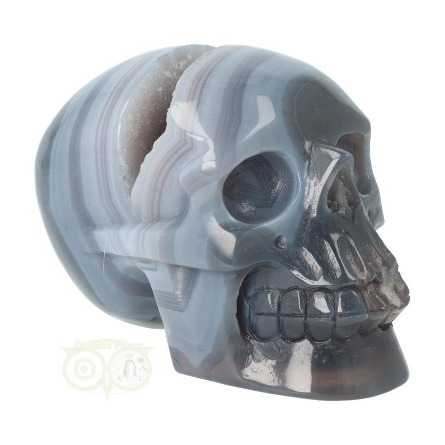 Agaat  Geode 'Tooth' kristallen schedel 714 gram-2