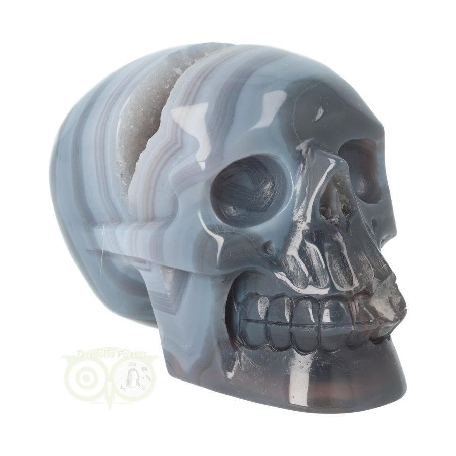 Agaat  Geode 'Tooth' kristallen schedel 714 gram-3