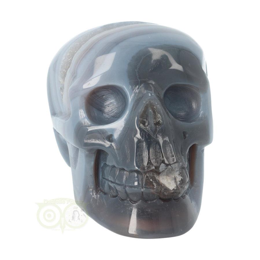 Agaat  Geode 'Tooth' kristallen schedel 714 gram-4