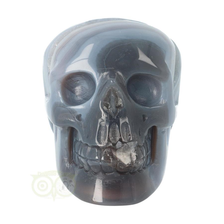 Agaat  Geode 'Tooth' kristallen schedel 714 gram-5