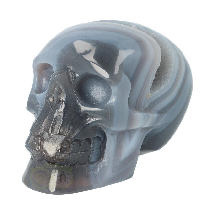 Agaat  Geode 'Tooth' kristallen schedel 714 gram-6