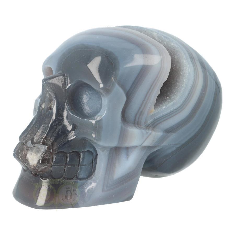 Agaat  Geode 'Tooth' kristallen schedel 714 gram-7