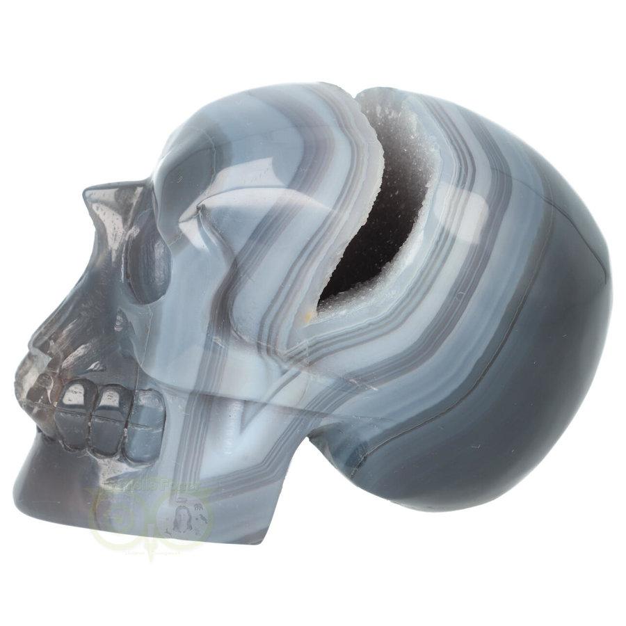 Agaat  Geode 'Tooth' kristallen schedel 714 gram-8