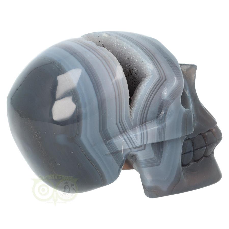 Agaat  Geode 'Tooth' kristallen schedel 714 gram-9