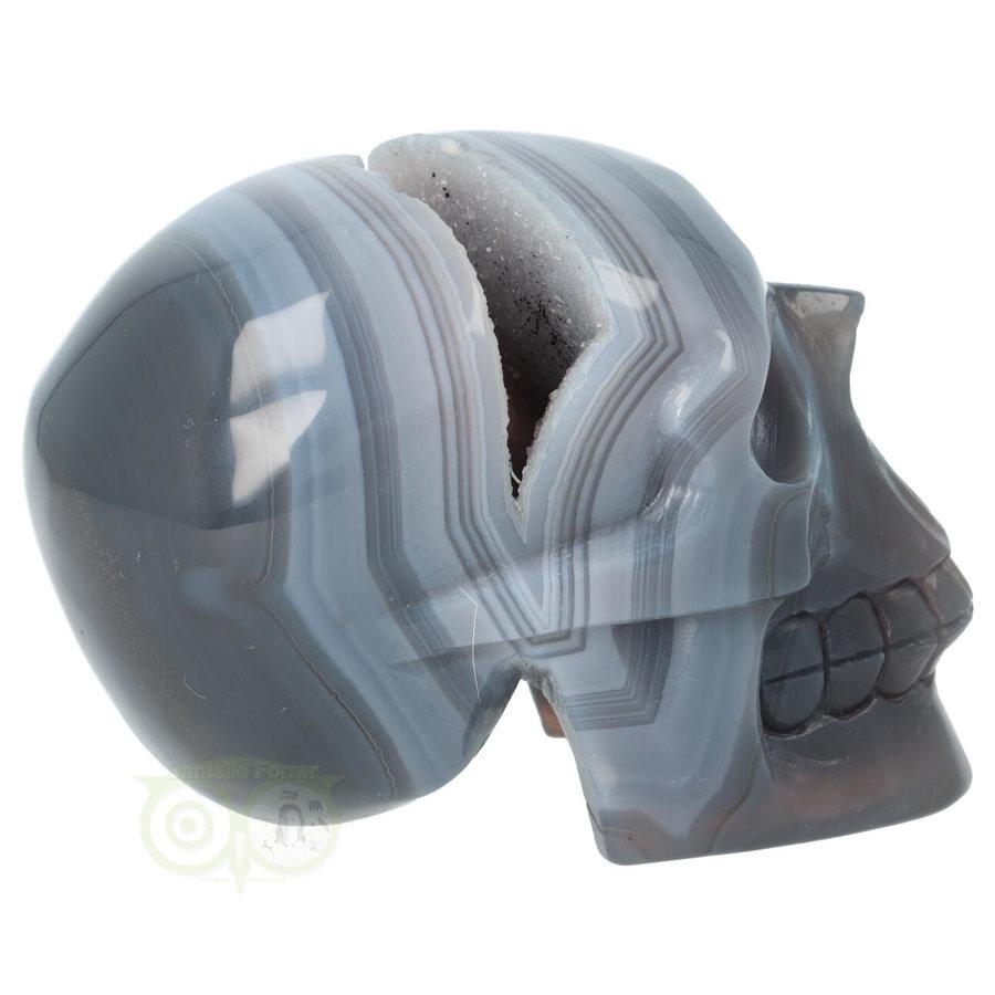 Agaat  Geode 'Tooth' kristallen schedel 714 gram-10