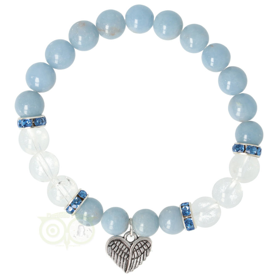 Armband Angeliet / Bergkristal met Bedel engelenvleugels-1