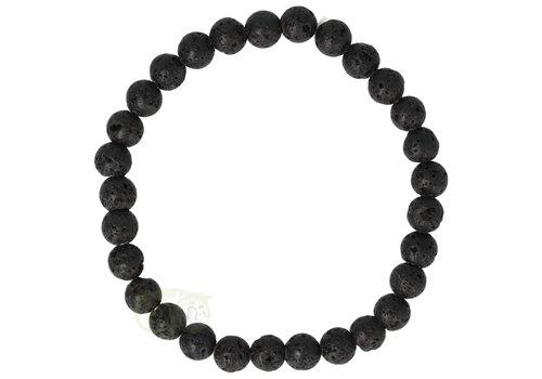 Armband - zwart lavasteen - 19 cm