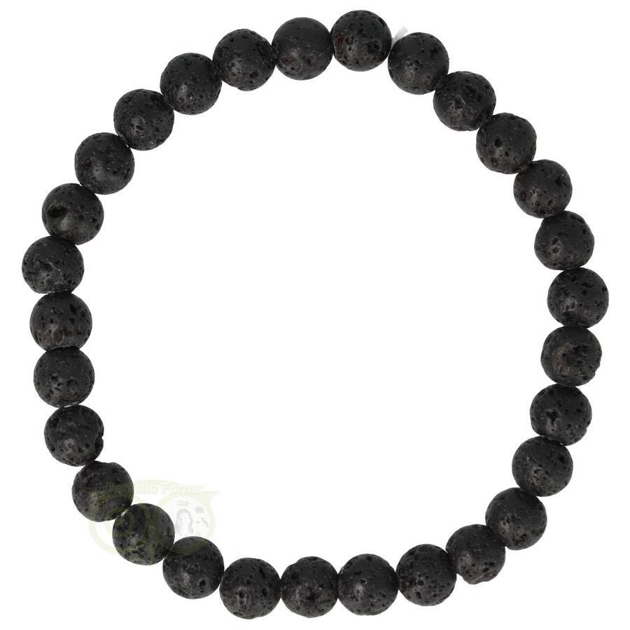 Armband - zwart lavasteen - 19 cm-1