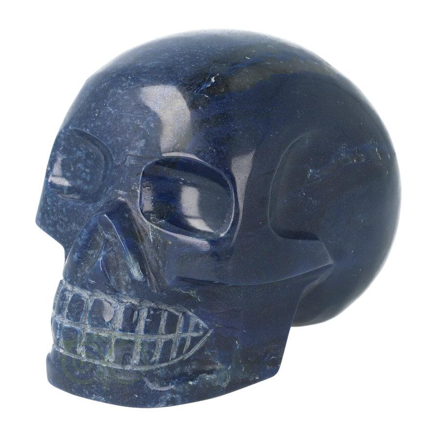 Blauwe kwarts kristallen schedel 846 gram-1