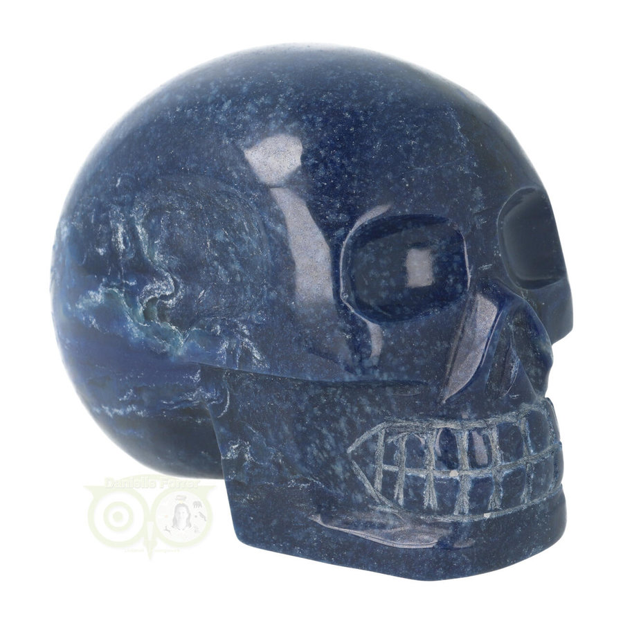 Blauwe kwarts kristallen schedel 846 gram-8