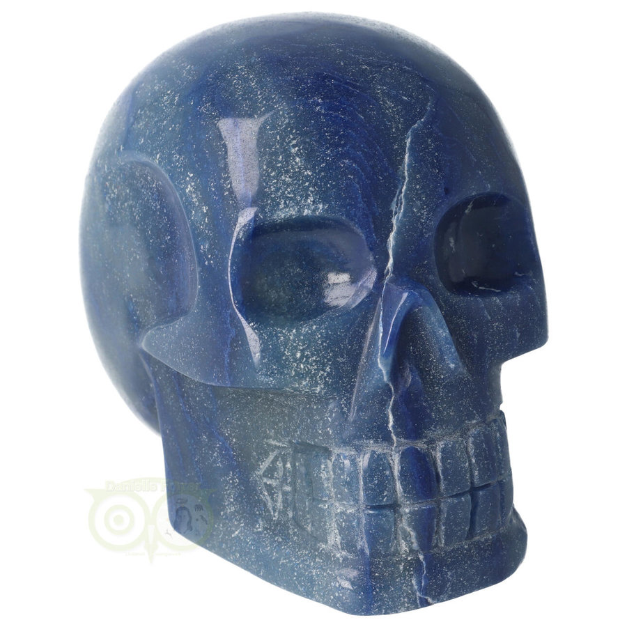 Blauwe kwarts kristallen schedel 1072 gram-2