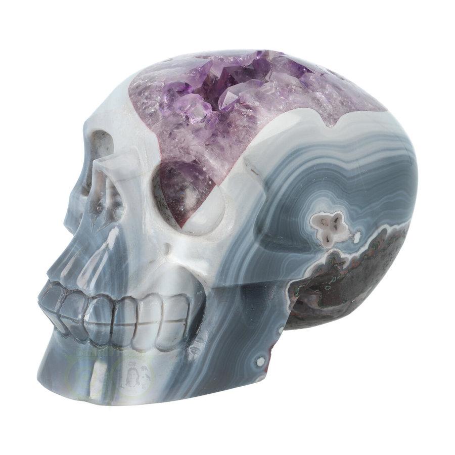 Agaat Amethist kristallen schedel 877 gram-1