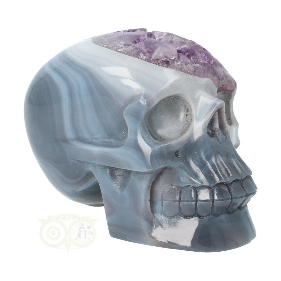 Agaat Amethist kristallen schedel 877 gram-4