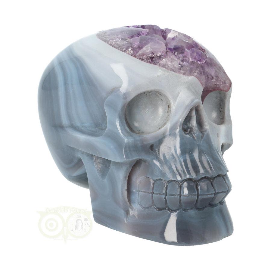 Agaat Amethist kristallen schedel 877 gram-5