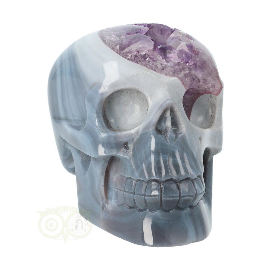 Agaat Amethist kristallen schedel 877 gram-6