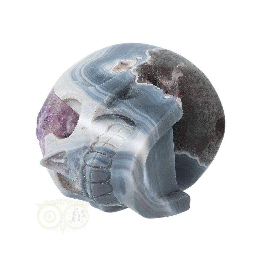 Agaat Amethist kristallen schedel 877 gram-9