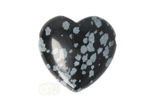 Sneeuwvlok Obsidiaan hart hanger ± 3 cm