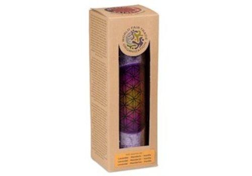 Geurkaars Flower of Life - Paars - stearine in glas