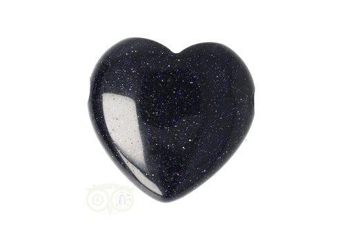 Goudsteen -  Blauwe  hart hanger  ± 3 cm Nr 9