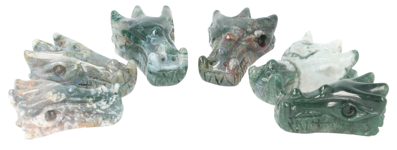 Mosagaat draken schedels - Drakenschedeltjes - Draakjes   Edelstenen Webwinkel - Webshop Danielle Forrer