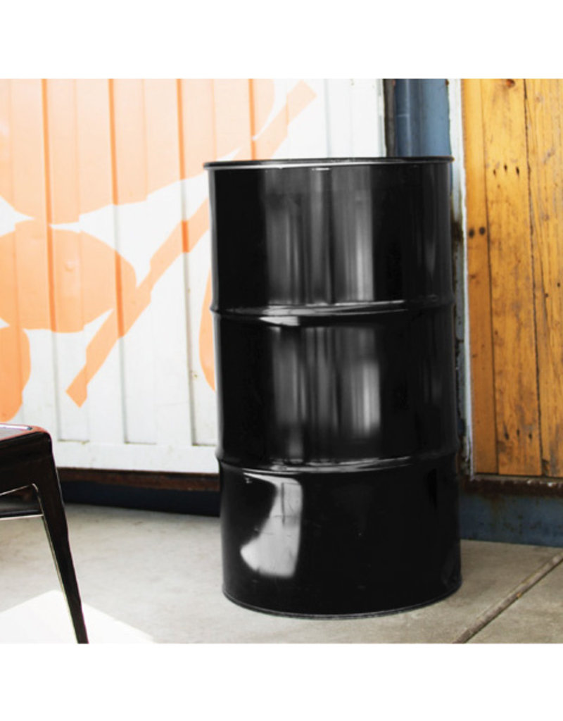 BinBin BinBin Industriële prullenbak zwart 120 Liter olievat met gat in het deksel