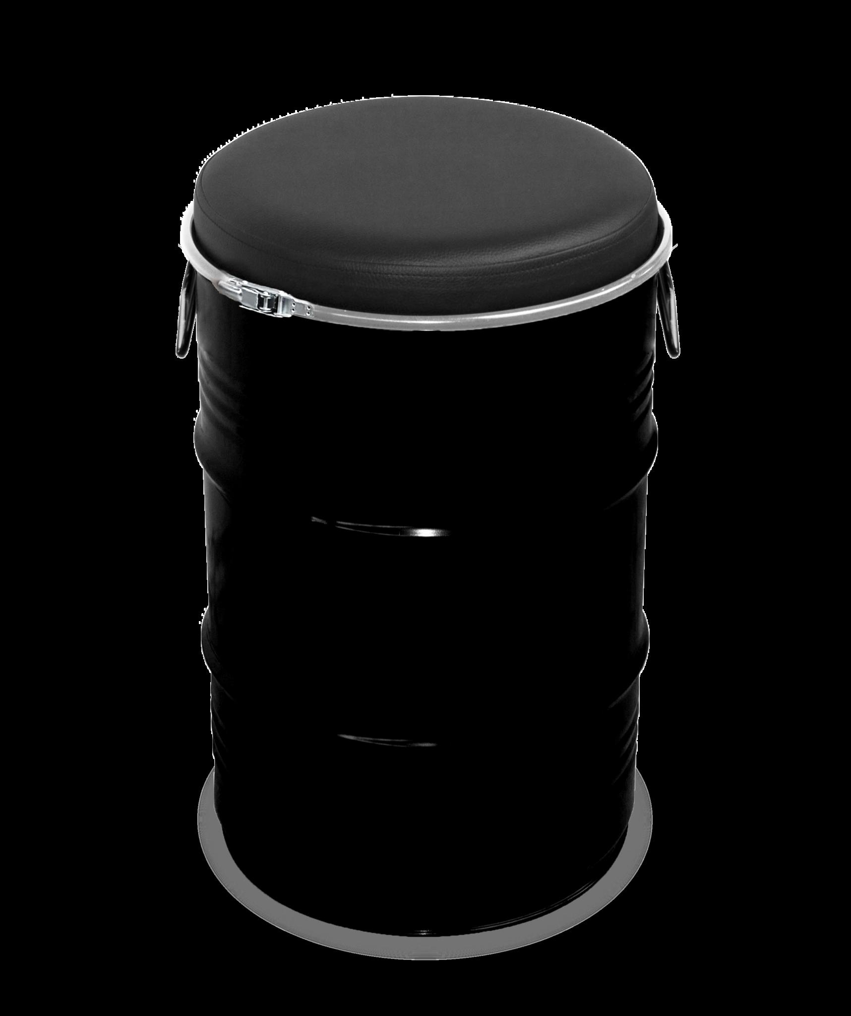 Barrelkings Barrel seat industrieel kruk 60L olievat zwart