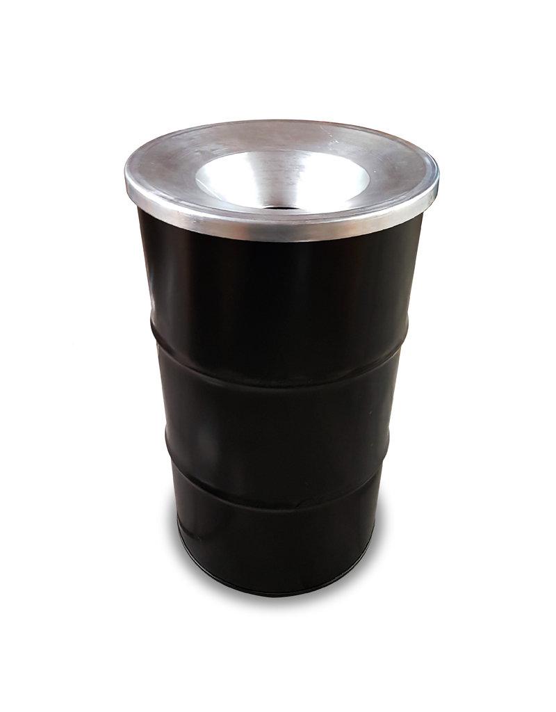 BinBin Flame Industriële prullenbak zwart 120 Liter olievat met vlamwerend deksel
