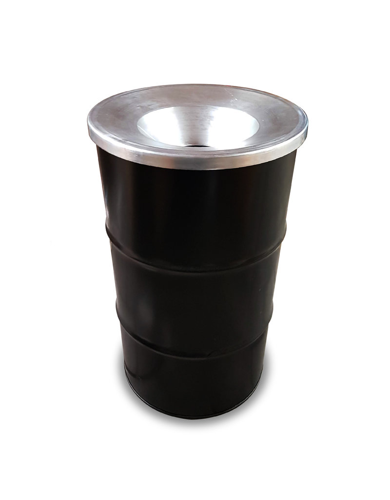 BinBin Industriële prullenbak zwart 120 Liter olievat met vlamwerend deksel