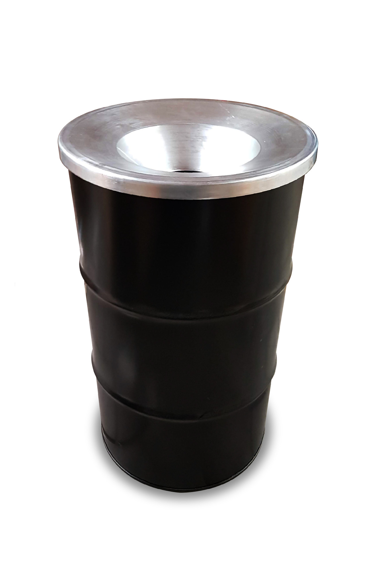 Barrelkings BinBin Flame Industrile prullenbak zwart 120 Liter olievat met vlamwerend deksel