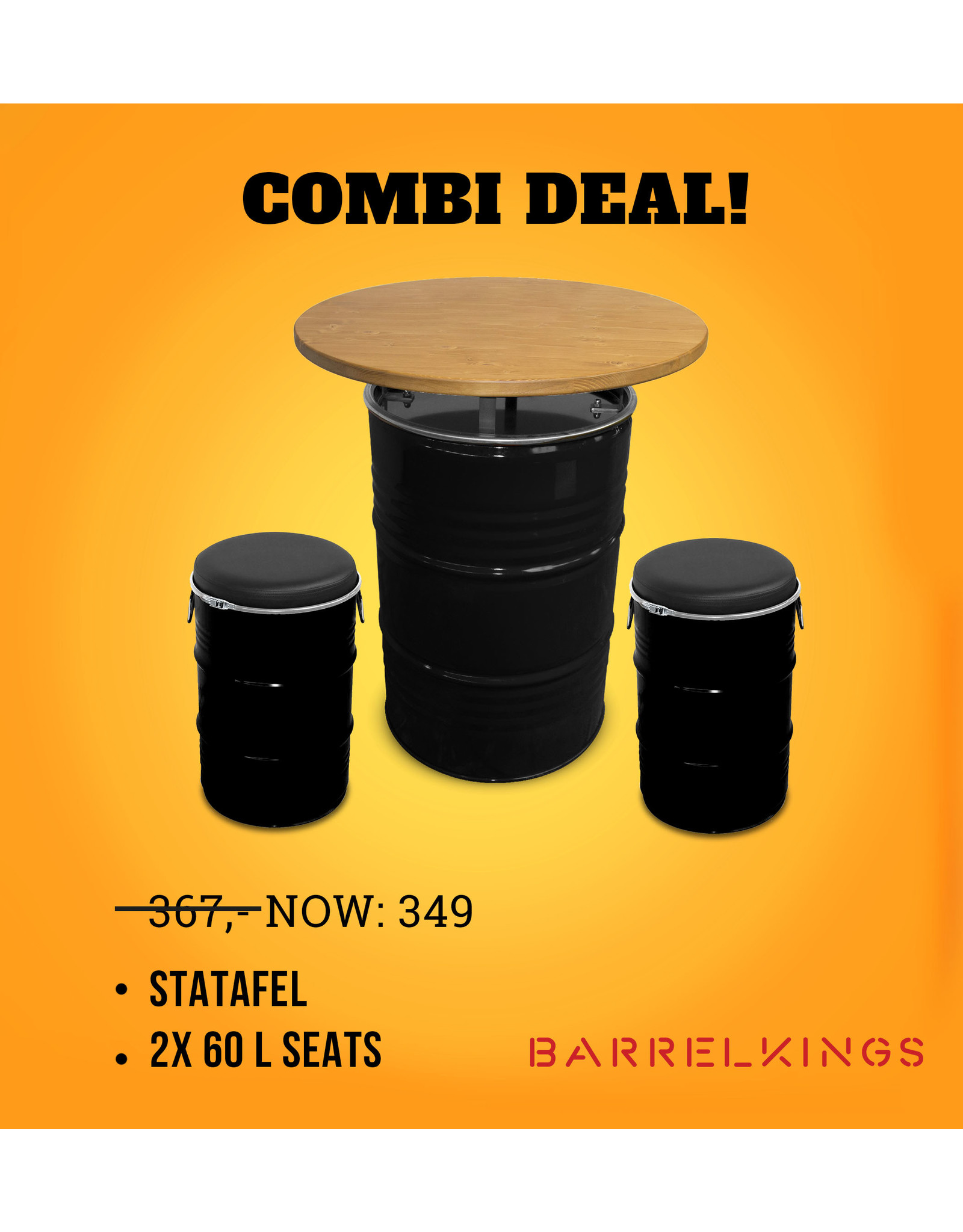 Barrelkings CombiDealTable plus two seats 60 L
