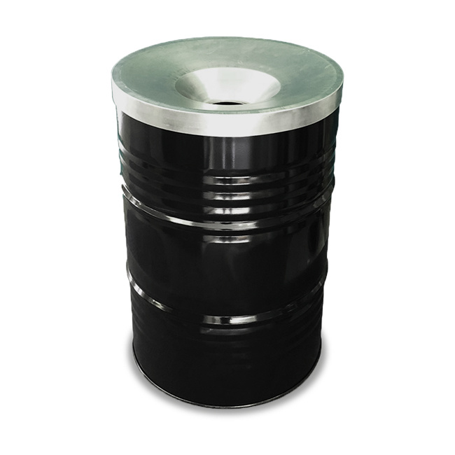 Barrelkings BinBin Flame Industrile prullenbak zwart 200 Liter olievat met vlamwerend deksel