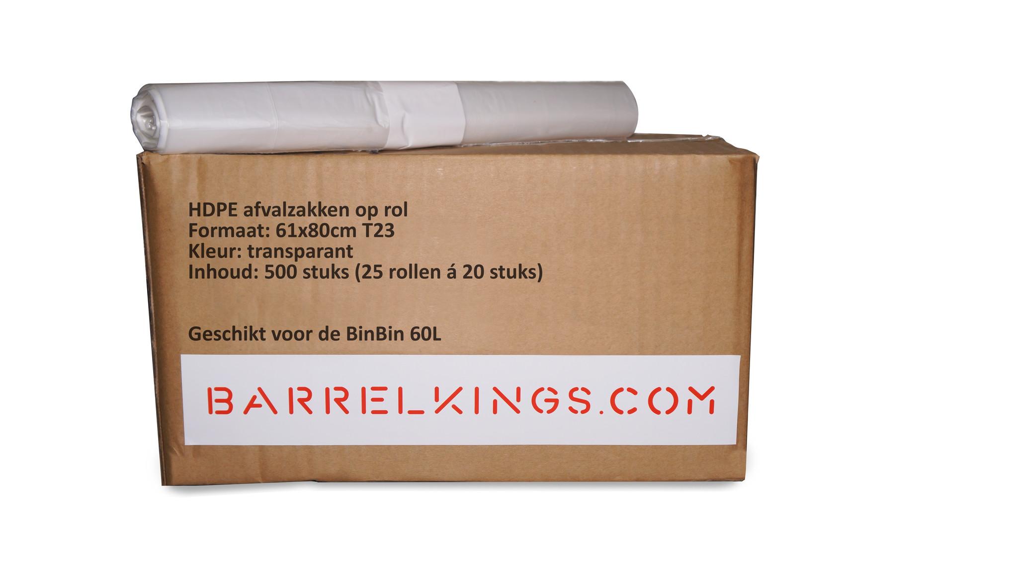 Barrelkings Afvalzak BinBin 60 L Transparant 500 St.
