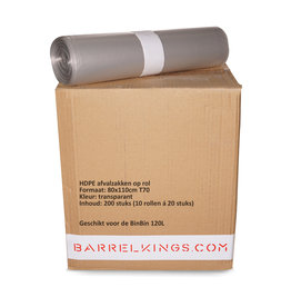 Barrelkings Garbage Bag BinBin 120 L Transparent 200 Pcs.