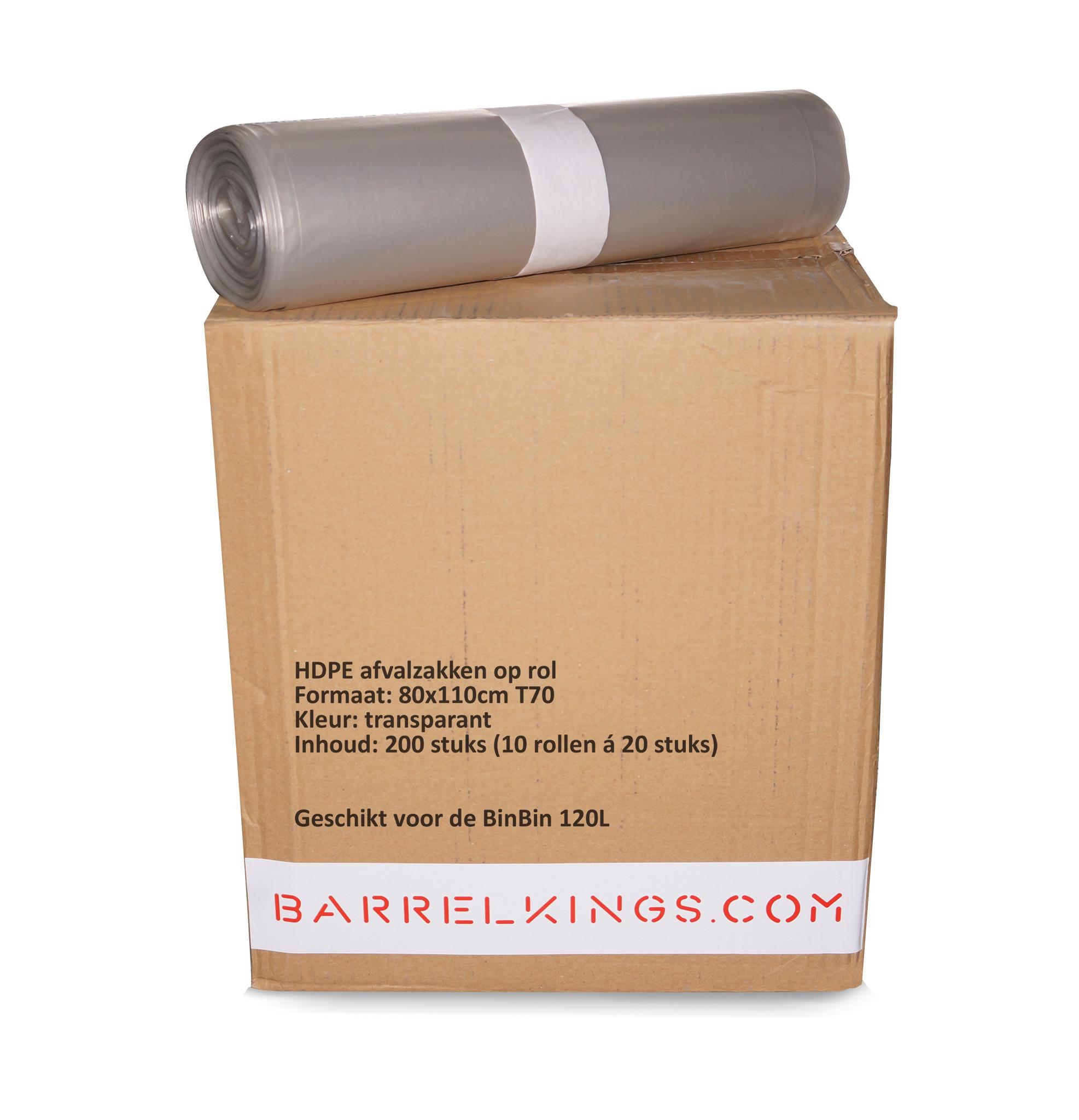 Barrelkings Afvalzak BinBin 120 L Transparant 200 St.