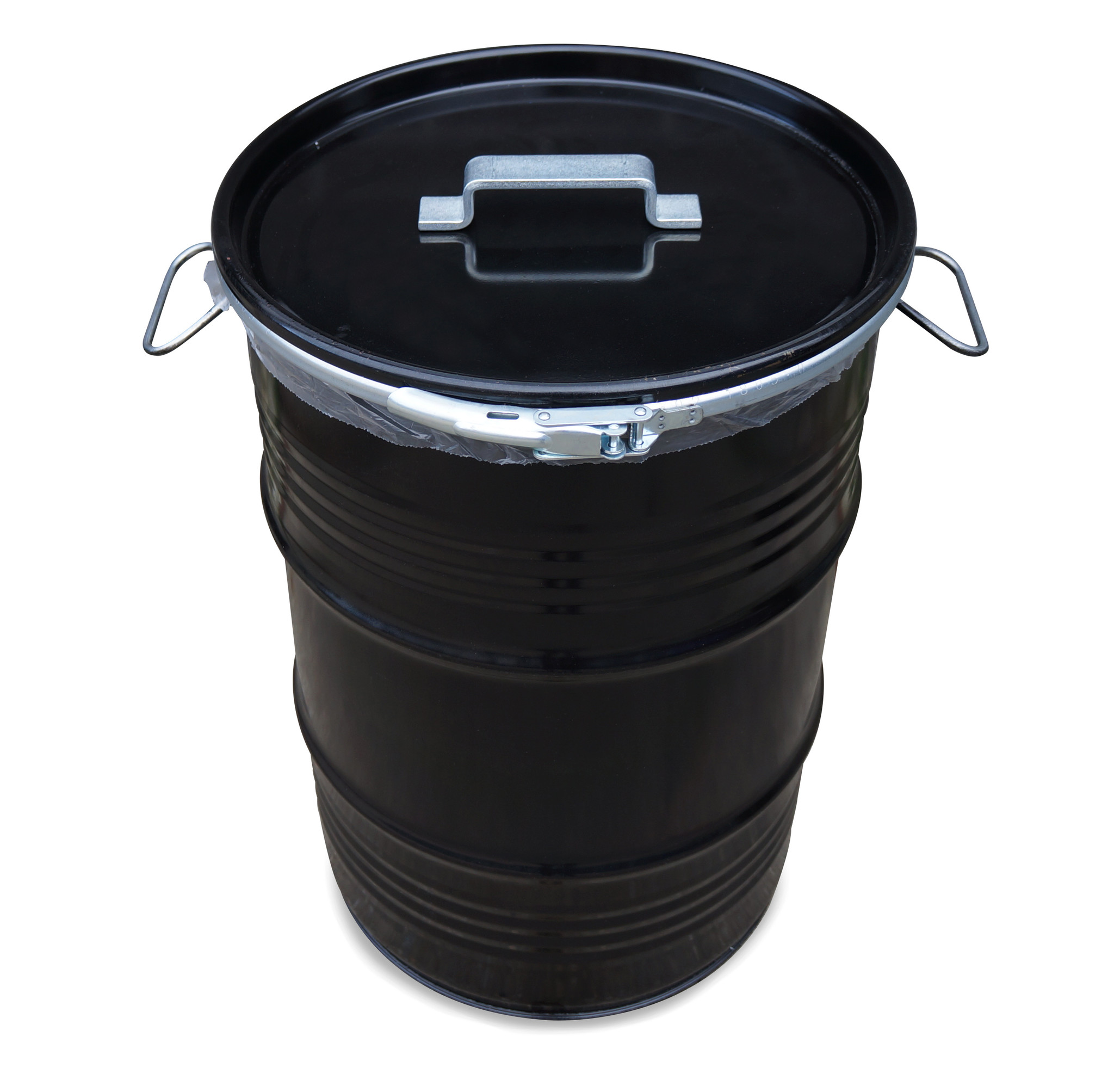 BinBin BinBin Handle industrile prullenbak zwart 60 Liter olievat met handvat deksel