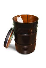 Barrelkings Barrel seat industrieel kruk bijzettafel en opbergbox 60L olievat zwart
