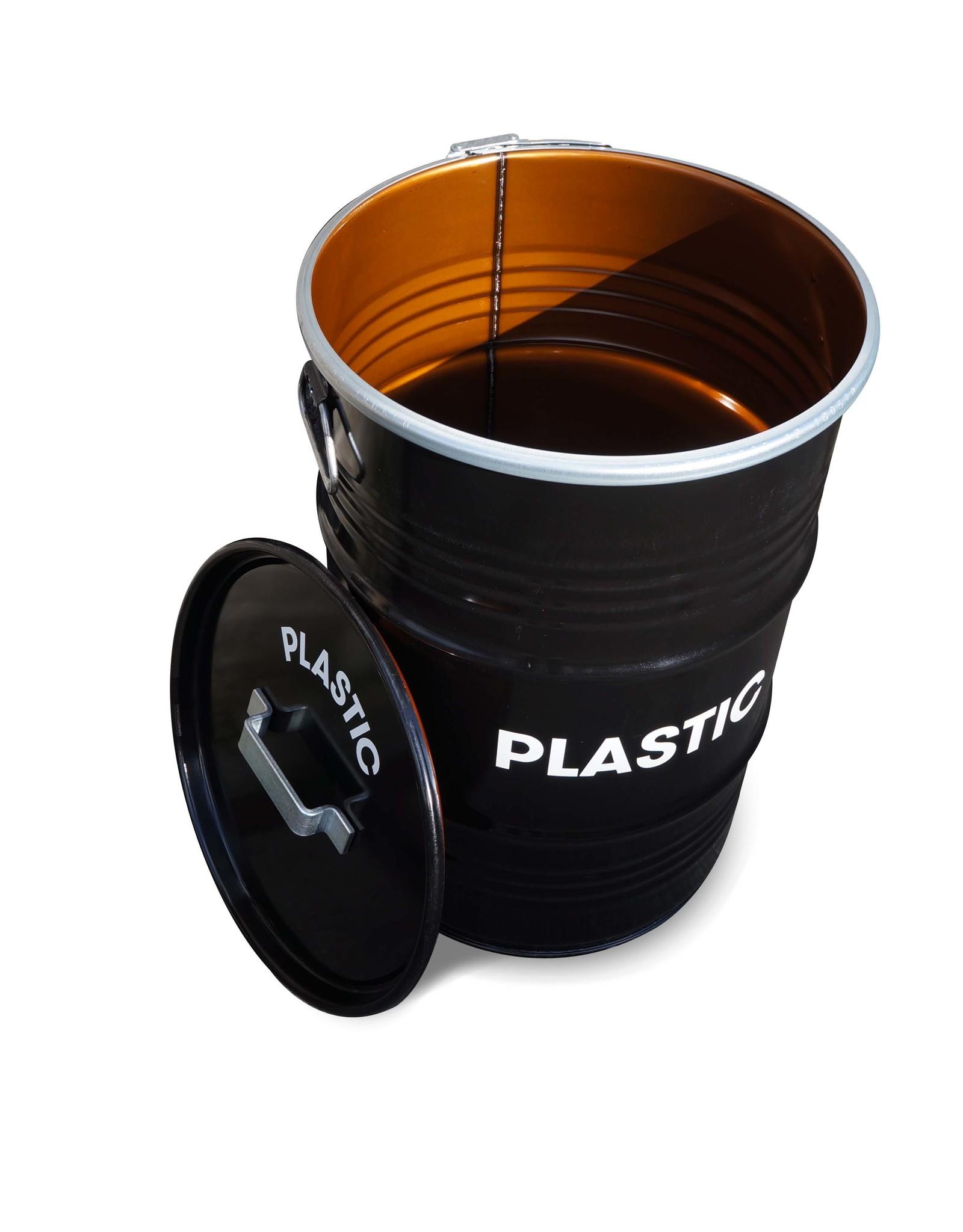 Barrelkings BinBin Handgriff Plastik industrieller Mülleimer Abfalltrennung 60 Liter Ölfass mit Deckelgriff