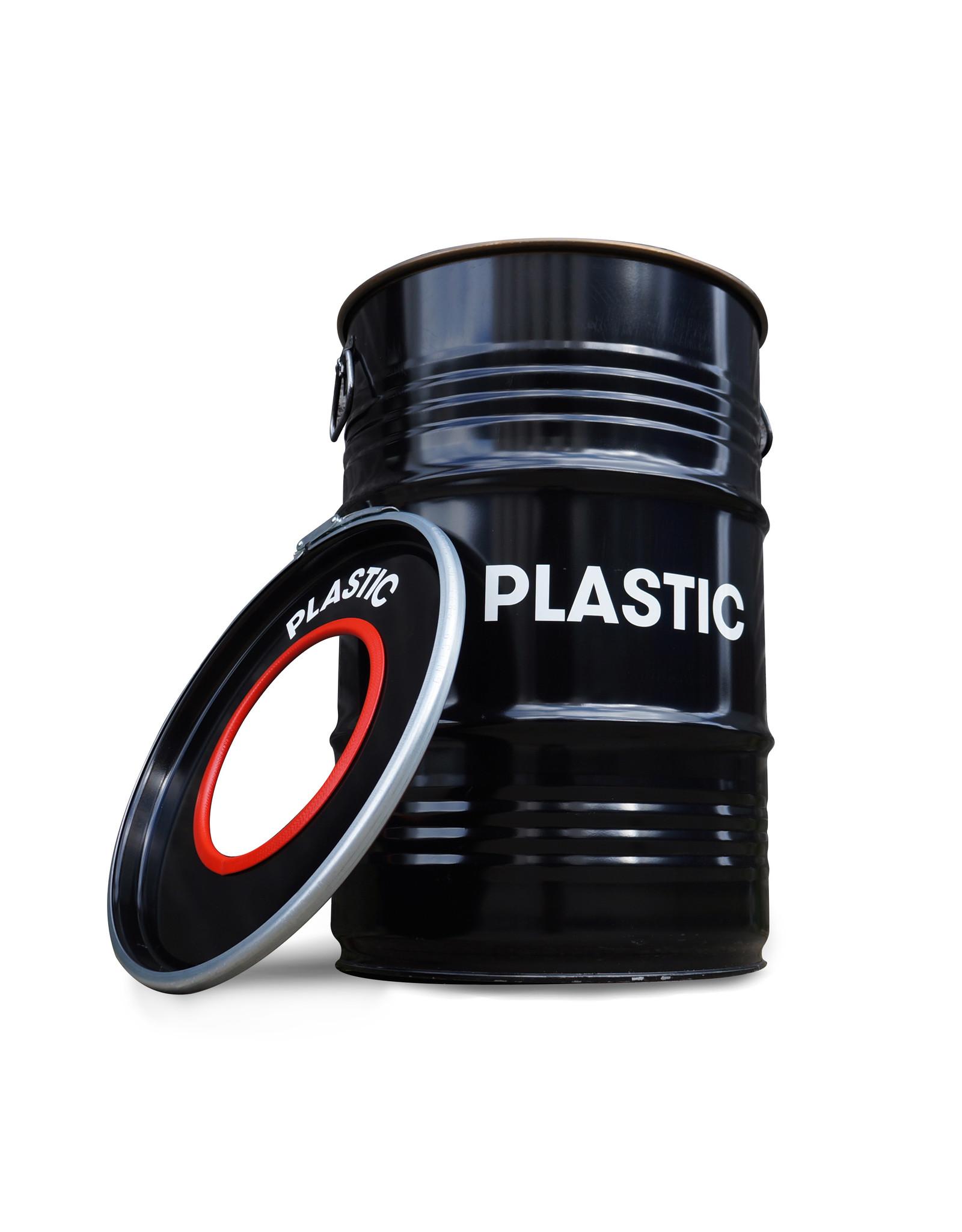 Barrelkings BinBin Hole Plastik industrieller Mülleimer Abfalltrennung 60 Liter Ölfass für Kunststoffabfälle
