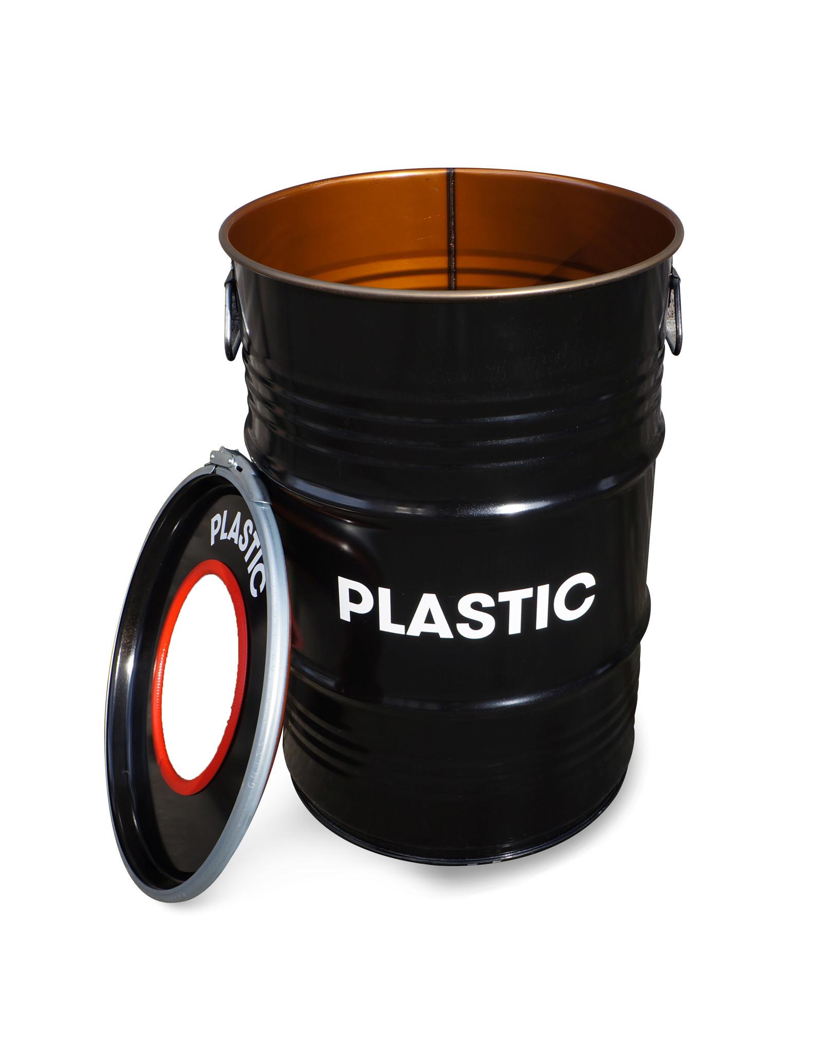 Barrelkings BinBin Hole Plastic industriële prullenbak afvalscheiding 60 Liter olievat voor plastic afval