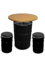 Barrelkings Stehtisch 200 Liter Ölfass mit Holzplatte