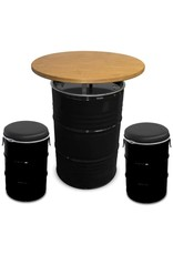 Oilbarrel tabletop with wooded top 200L