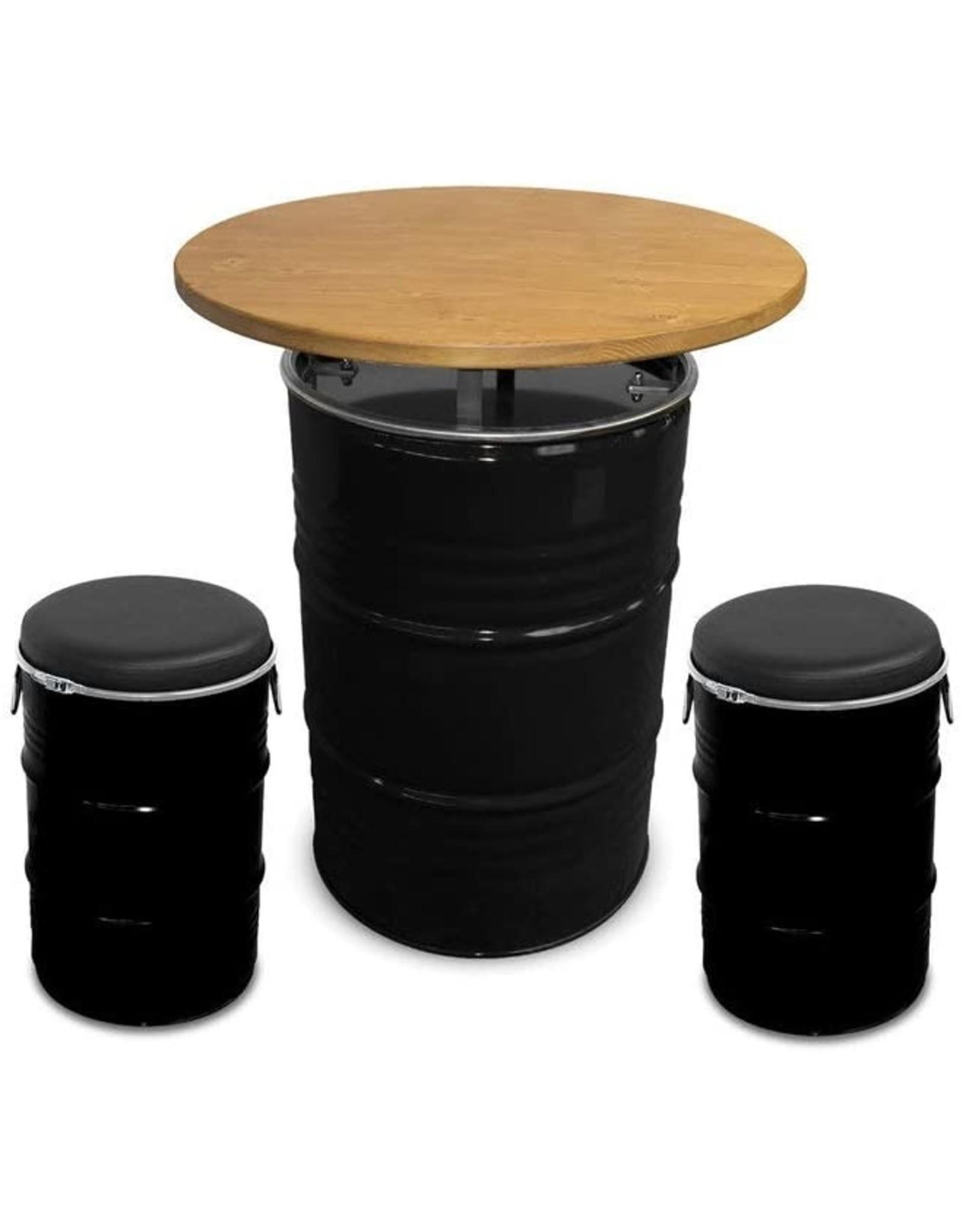 Barrelkings Olievat Statafel met houten blad 200 L