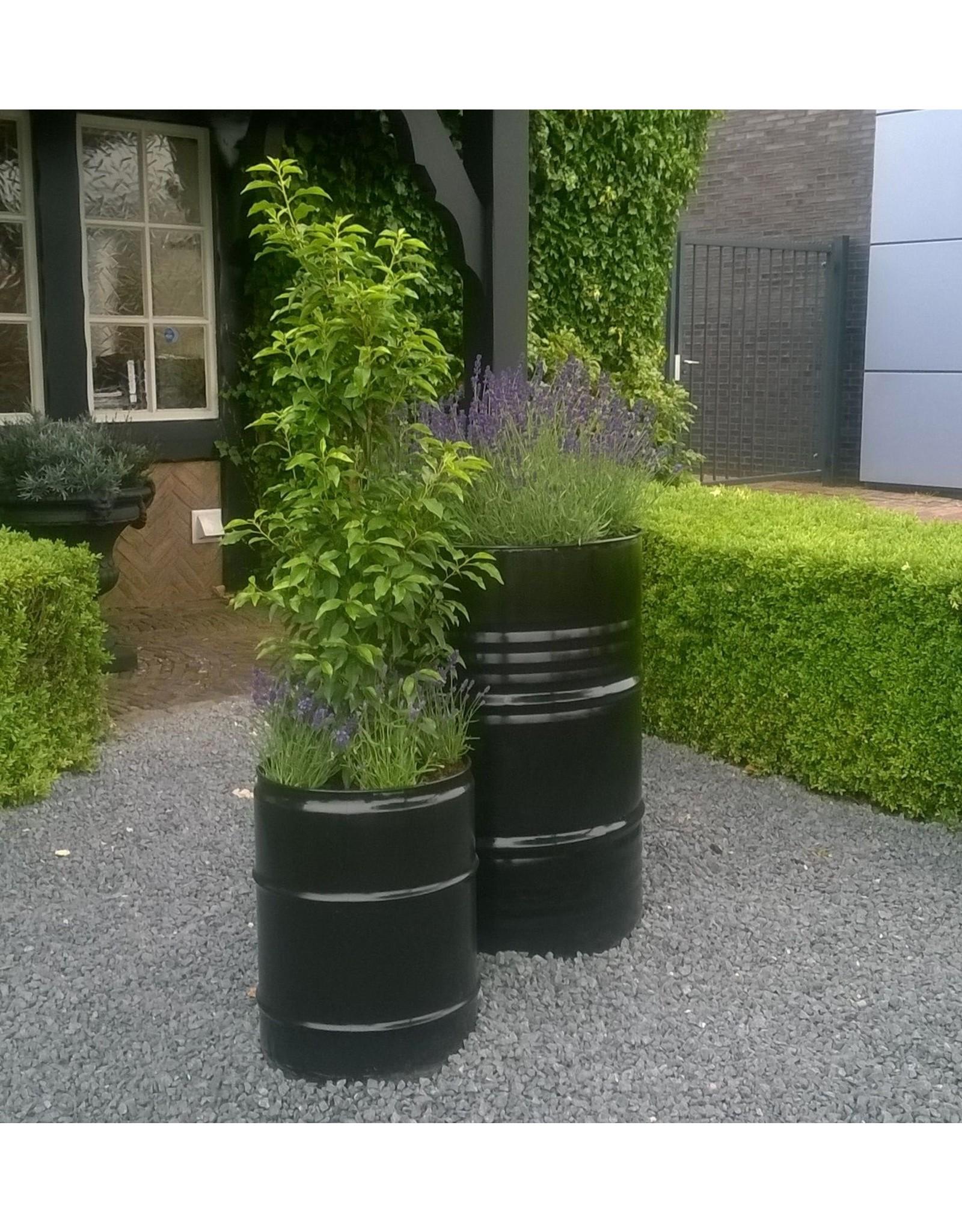 Barrelkings Barrelkings- industrieel metalen plantenbak 200L olievat zwart
