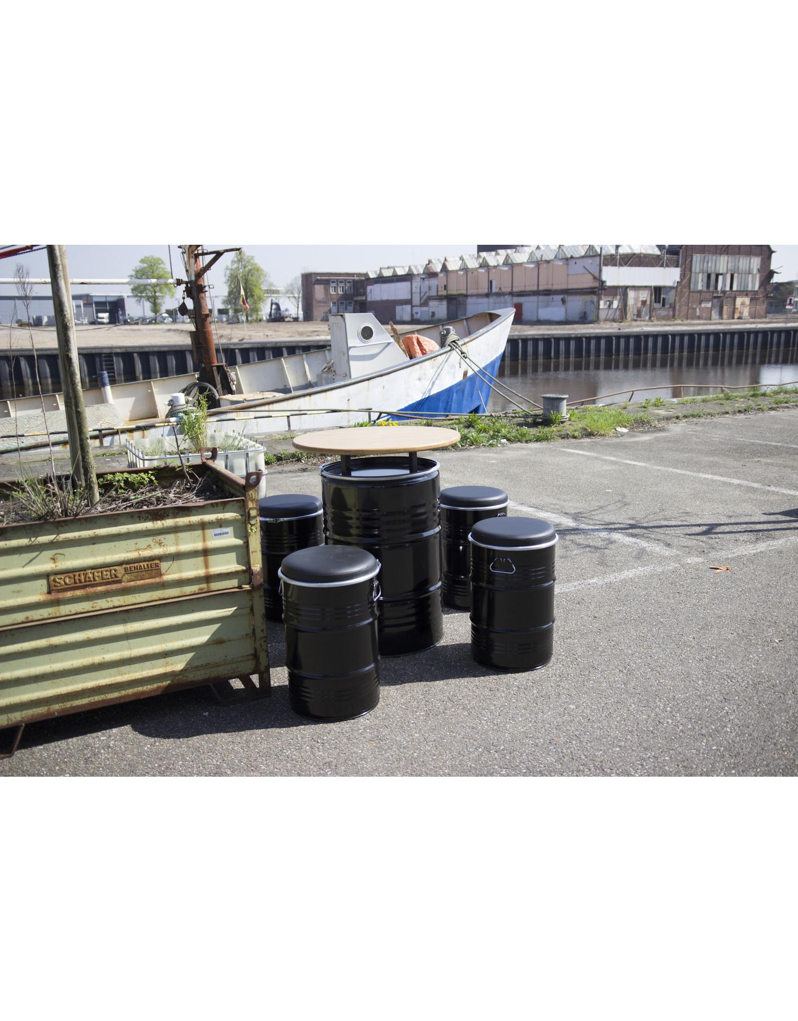 Barrelkings Olievat Statafel met houten blad 200 Liter vat
