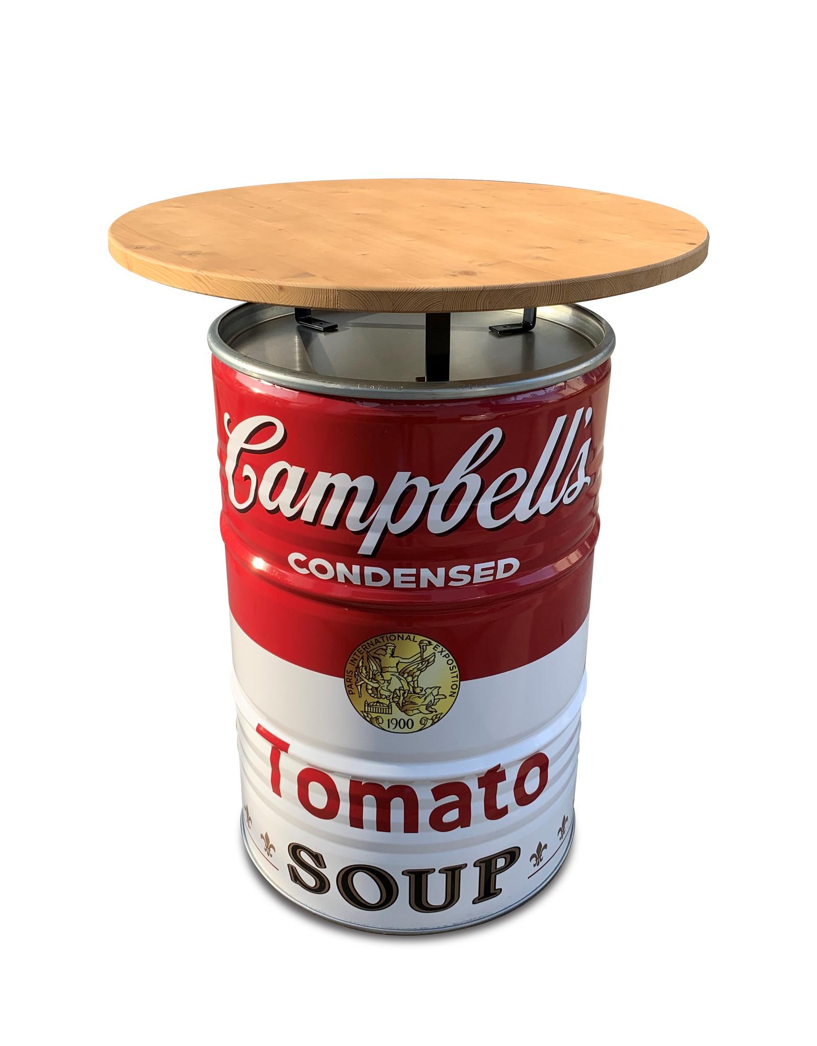 Barrelkings Campbells Suppen-Stehtisch-Stehtisch-Hängetisch mit Holzplatte.